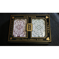 KEM Bridge Plastic Playing Cards Jacquard (Purple and Green 2 Deck Set Jumbo Index) - Trick wwww.jeux2cartes.fr