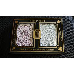 KEM Bridge Plastic Playing Cards Jacquard (Purple and Green 2 Deck Set Jumbo Index) - Trick wwww.jeux2cartes.fr
