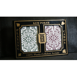 KEM Poker Plastic Playing Cards Jacquard (Purple and Green 2 Deck Set Standard Index) - Trick wwww.jeux2cartes.fr