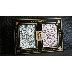 KEM Poker Plastic Playing Cards Jacquard (Purple and Green 2 Deck Set Standard Index) - Trick wwww.jeux2cartes.fr